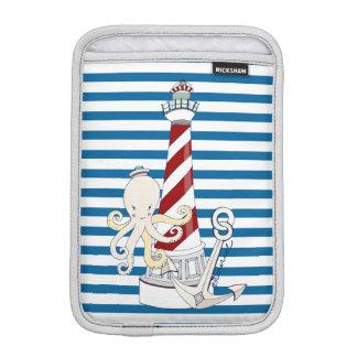 Nautical Lighthouse Blue and White Stripe iPad Mini Sleeves