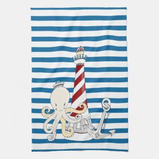 Nautical Lighthouse Blue and White Stripe Towel