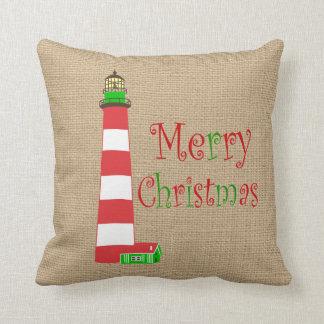 Nautical Lighthouse Christmas Pillow