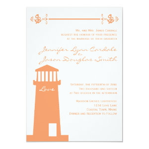 Nautical Lighthouse Coral Wedding Invitations 5