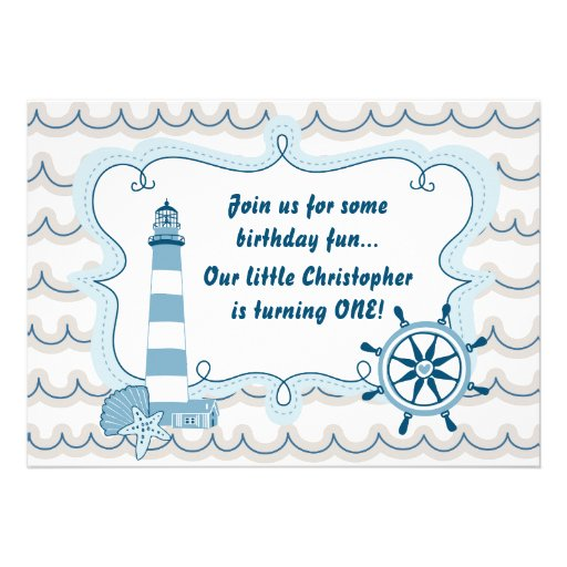Nautical Lighthouse First Birthday Invite for Boys