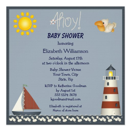 "Nautical Lighthouse & Sailboat Baby Shower Invites 5.25"" Square Invitation Card"