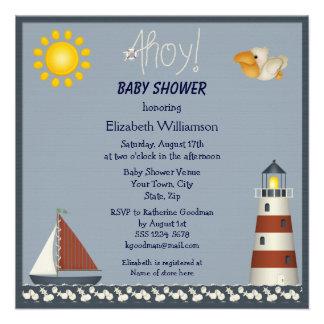 Nautical Lighthouse Sailboat Baby Shower Invites
