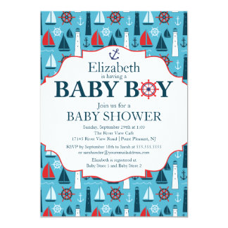 Nautical Lighthouse Sailboat Boys Baby Shower Personalized Invitation