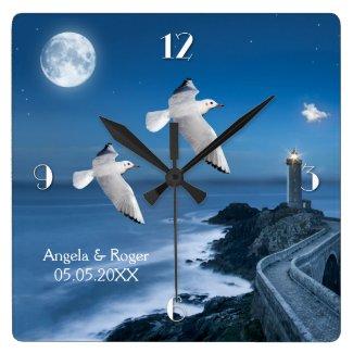 Nautical Lighthouse Seagulls Wedding Clock