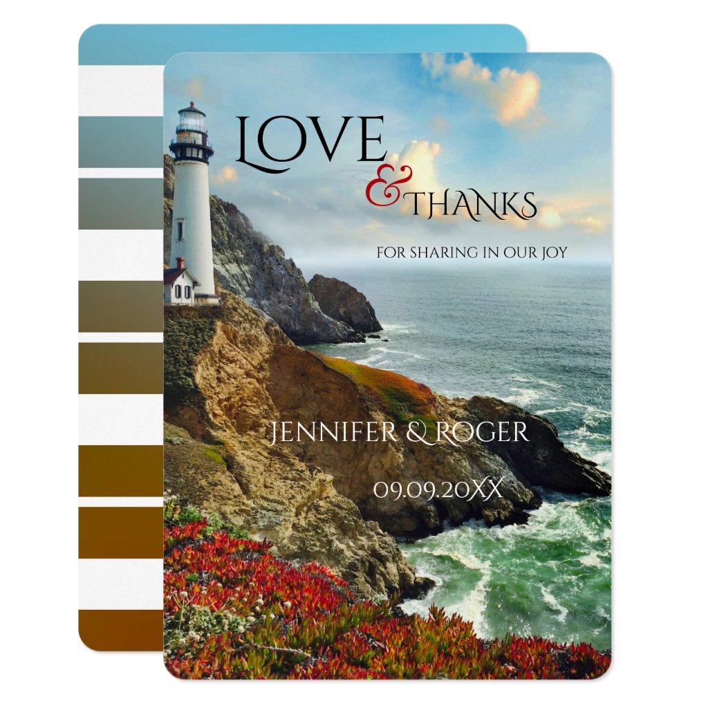 Nautical Lighthouse Wedding Thank You Card