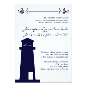 Nautical Lighthouse Wedding Venues Navy Invitation 4.5