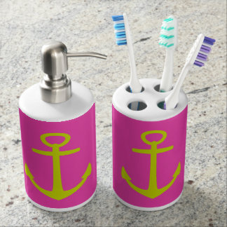 Nautical Lime Green Anchors on Diva Pink Bath Set