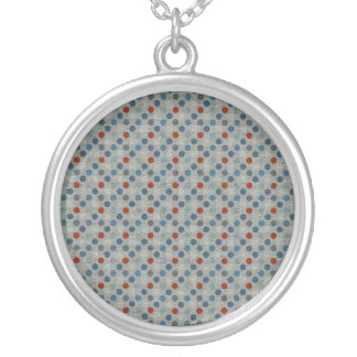 Nautical Linen Dots Silver Plated Necklace