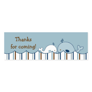 Nautical Little Whale Birthday Favor Gift Tags Double-Sided Mini Business Cards (Pack Of 20)