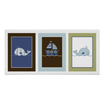 Nautical Little Whale Nursery Wall Art Print