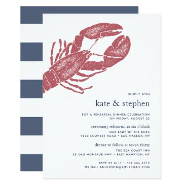 Beach Themed Nautical Lobster Ceremony Rehearsal Dinner Invite