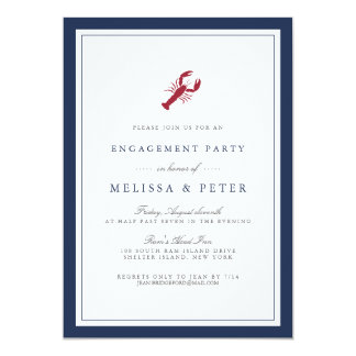 Nautical Lobster Engagement Party Invitation