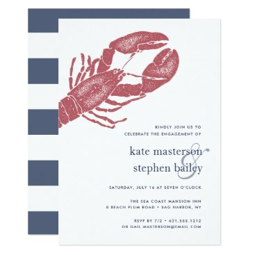 Beach Themed Nautical Lobster Engagement Party Invitation