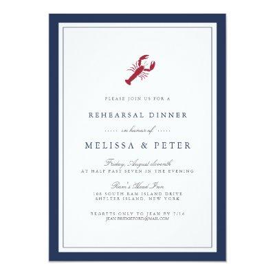 Navy And White Border Wedding Reception Card Zazzle Com