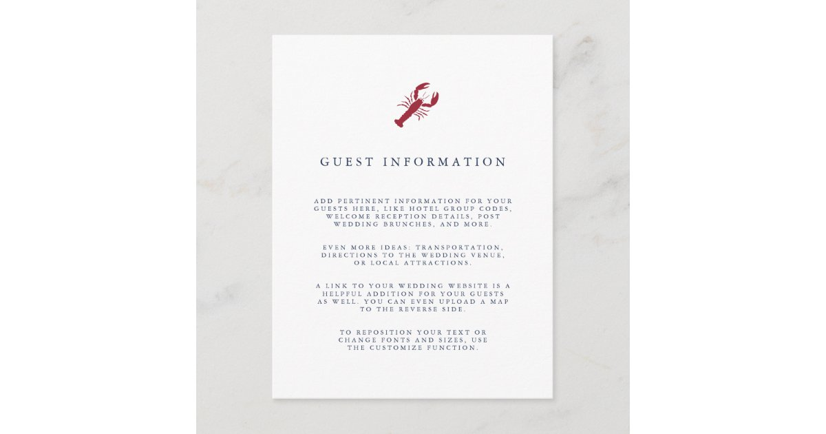 Nautical Lobster Wedding Guest Details Enclosure Card Zazzle
