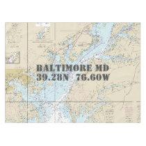 Nautical Longitude Latitude Baltimore MD Tablecloth