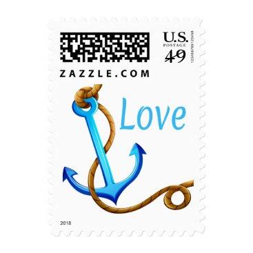 Beach Themed Nautical Love Blue Turquoise Ship Anchor Sailor Postage