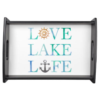 Nautical Love Lake Life Anchor Typography Serving Tray