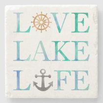 Nautical Love Lake Life Anchor Wheel Typography Stone Coaster