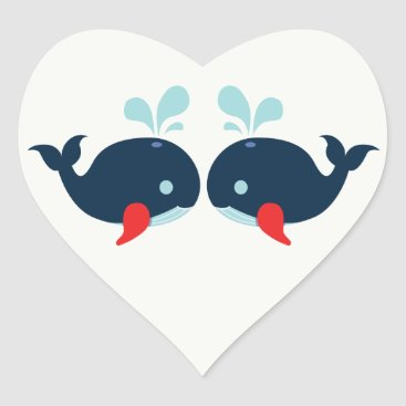 Beach Themed Nautical Love Nay Blue & Red Whales Wedding Heart Sticker