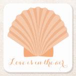 Nautical Love Orange Seashell Beach Wedding Party Square Paper Coaster