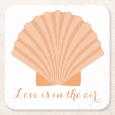 Beach Themed Nautical Love Orange Seashell Beach Wedding Party Square Paper Coaster