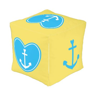 Beach Themed Nautical Love Outdoor Pouf