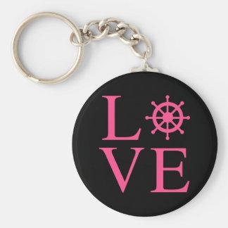Nautical Love Pink Fuchsia Ship Wheel Black Keychain