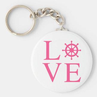Nautical Love Pink Fuchsia Ship Wheel Keychain
