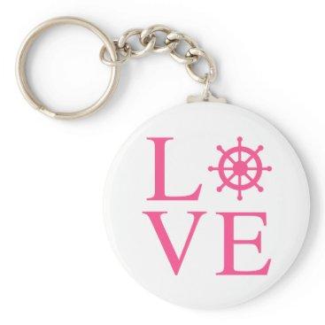 Beach Themed Nautical Love Pink Fuchsia Ship Wheel Keychain