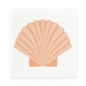 Beach Themed Nautical Love Seashell Orange Coral Wedding Party Napkin