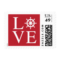 Nautical Love Ship Wheel Red Burgundy Distressed Postage