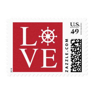 Nautical Love Ship Wheel Red Burgundy Distressed Postage