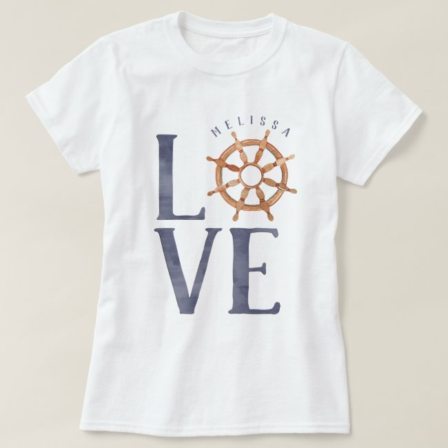 Nautical Love Watercolor Typography + Ship's Wheel