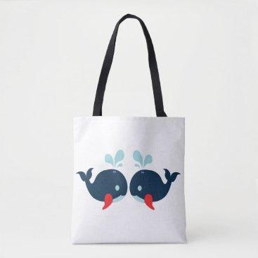 Beach Themed Nautical Love Whales Fish Love - Navy Sailor Beach Tote Bag