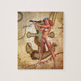 Nautical Map Beach bikini Pin Up Girl Sailor Jigsaw Puzzle