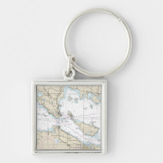 Nautical Map Decor Silver-Colored Square Keychain