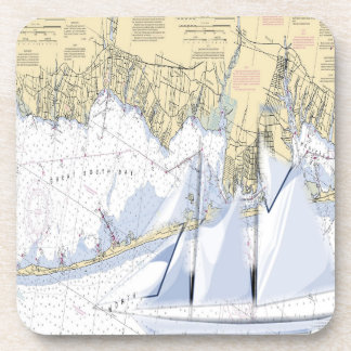 Nautical Map Great South Bay New York coasters. Beverage Coaster
