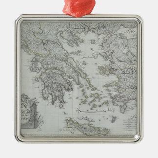 Nautical Map Square Metal Christmas Ornament