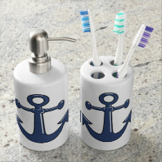 Nautical Marine Blue Boat Anchors Soap Dispenser And Toothbrush Holder at Zazzle