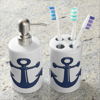 Nautical Marine Blue Boat Anchors Soap Dispenser And Toothbrush Holder