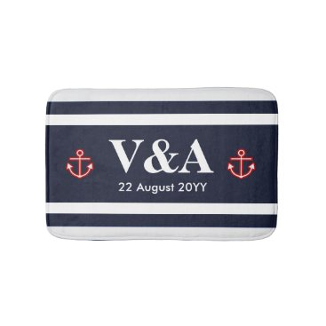 Beach Themed Nautical Marine Navy Blue White Stripes Bath Mat