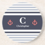 """Nautical Marine Navy Blue White Stripes Coaster<br><div class=""""desc"""">Gorgeous timeless nautical sailor style design with anchor. Suitable personalized gift for your loved ones. Customizable in Zazzle with your own text for a personalized design. Check out my store for matching items!</div>"""