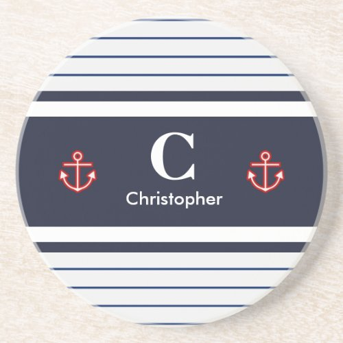 Nautical Marine Navy Blue White Stripes Coaster