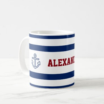 Beach Themed Nautical Marine Navy Blue White Stripes Coffee Mug
