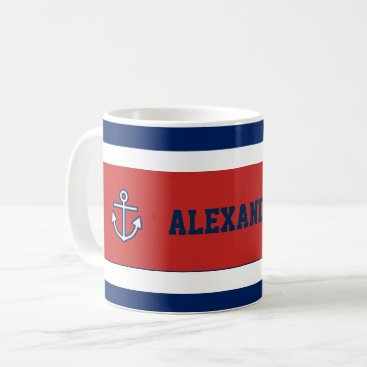Beach Themed Nautical Marine Navy Blue White Stripes Coffee Mug