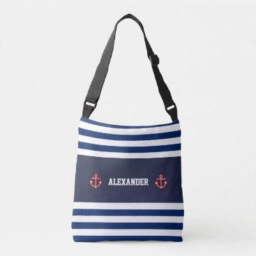 Beach Themed Nautical Marine Navy Blue White Stripes Crossbody Bag