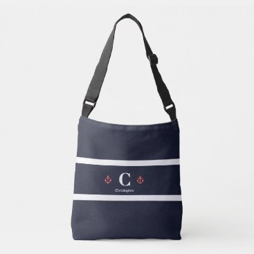 Beach Themed Nautical Marine Navy Blue White Stripes Crossbody Bag