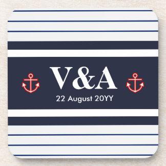 Nautical Marine Navy Blue White Stripes Drink Coaster